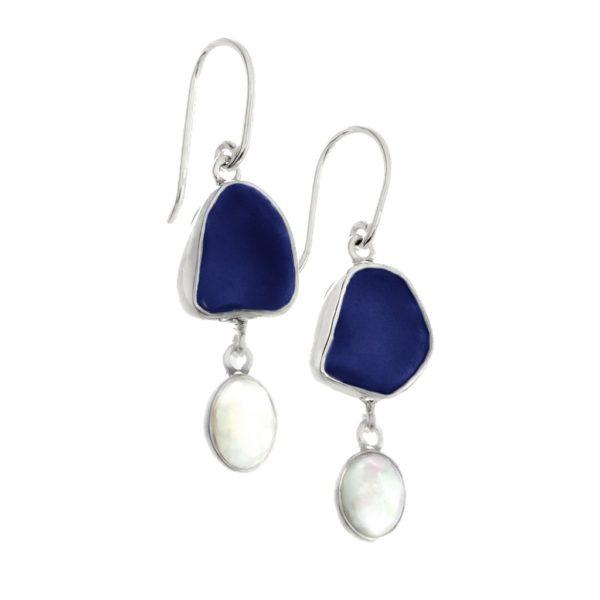 Blue Sea Glass & Opal Drop Earrings | Oceano Sea Glass | Marvin Scott & Co. | www.marvinscottco.com