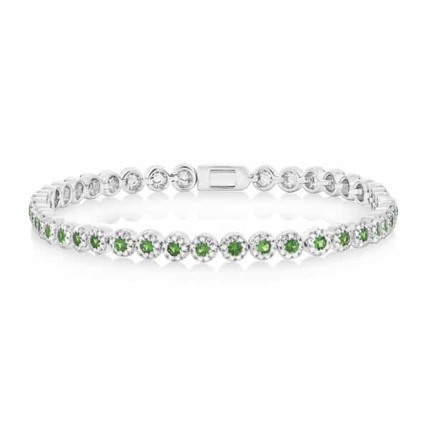 1.08CT DIAMOND & 1.48CT GREEN GARNET 14K WHITE GOLD LADY'S BRACELET Shy Collections | Marvin Scott & Co. www.marvinscottco.com