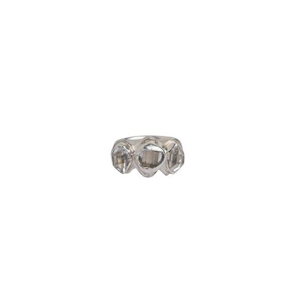 Herkimer Diamond+Sterling Silver 3 Stone Glacier Ring   Silver + Salt   Marvin Scott & Co.   www.marvinscottco.com