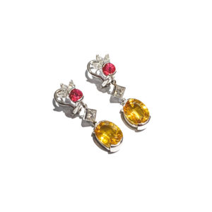 14K White Gold Yellow Sapphire and Ruby Earrings