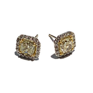 18k Yellow and White Gold Yellow Diamond Halo Stud Earrings