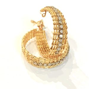 18K Yellow Gold and Diamonds Wide Textured Hoop Earrings at Marvin Scott & Co.