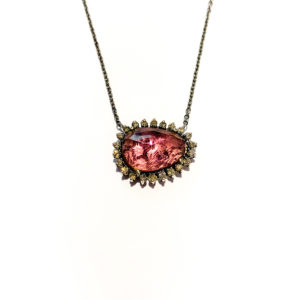 Sterling Pink Tourmaline Pendant with Diamonds