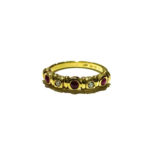 18k Yellow Gold Ruby and Diamond Ring