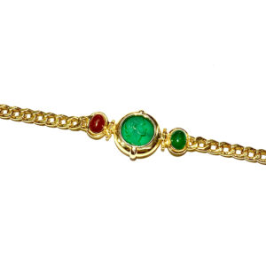 18k Yellow Gold Intaglio Green Onyx and Carnelian Bracelet