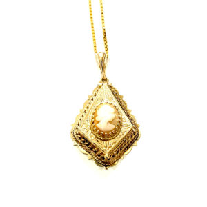 14k Yellow Gold Locket Cameo Necklace