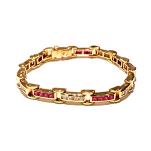 18k Yellow Gold Diamond and Ruby Bracelet