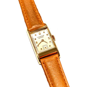 C.H. Meylan 18k Yellow Gold Curved Case Wind Up Watch