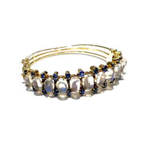 14k Yellow Gold Moonstone and Sapphire Bangle Bracelet