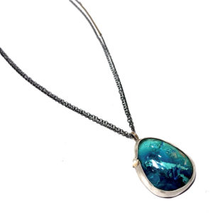 Salvaged Peruvian Opal 14k Gold and Sterling Silver Bezel Necklace