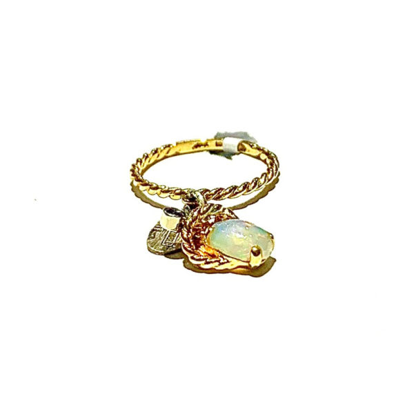 Salvaged 10k and 14k Yellow Gold Stackable Opal and Sapphire Ring
