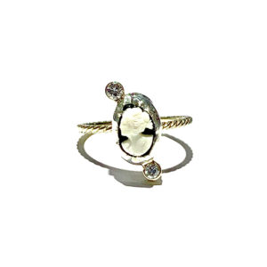 Salvaged 14k and 10k Yellow Gold Sterling Silver Bezel Cameo and Diamonds Twist Ring